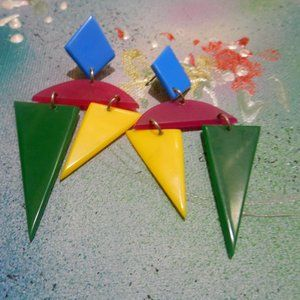 Contempo Vtg fun colorful dangling shapes earrings
